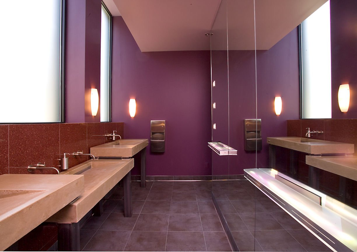 FIVE RESTAURANT co-ed bathroom sinks by InUnison Design