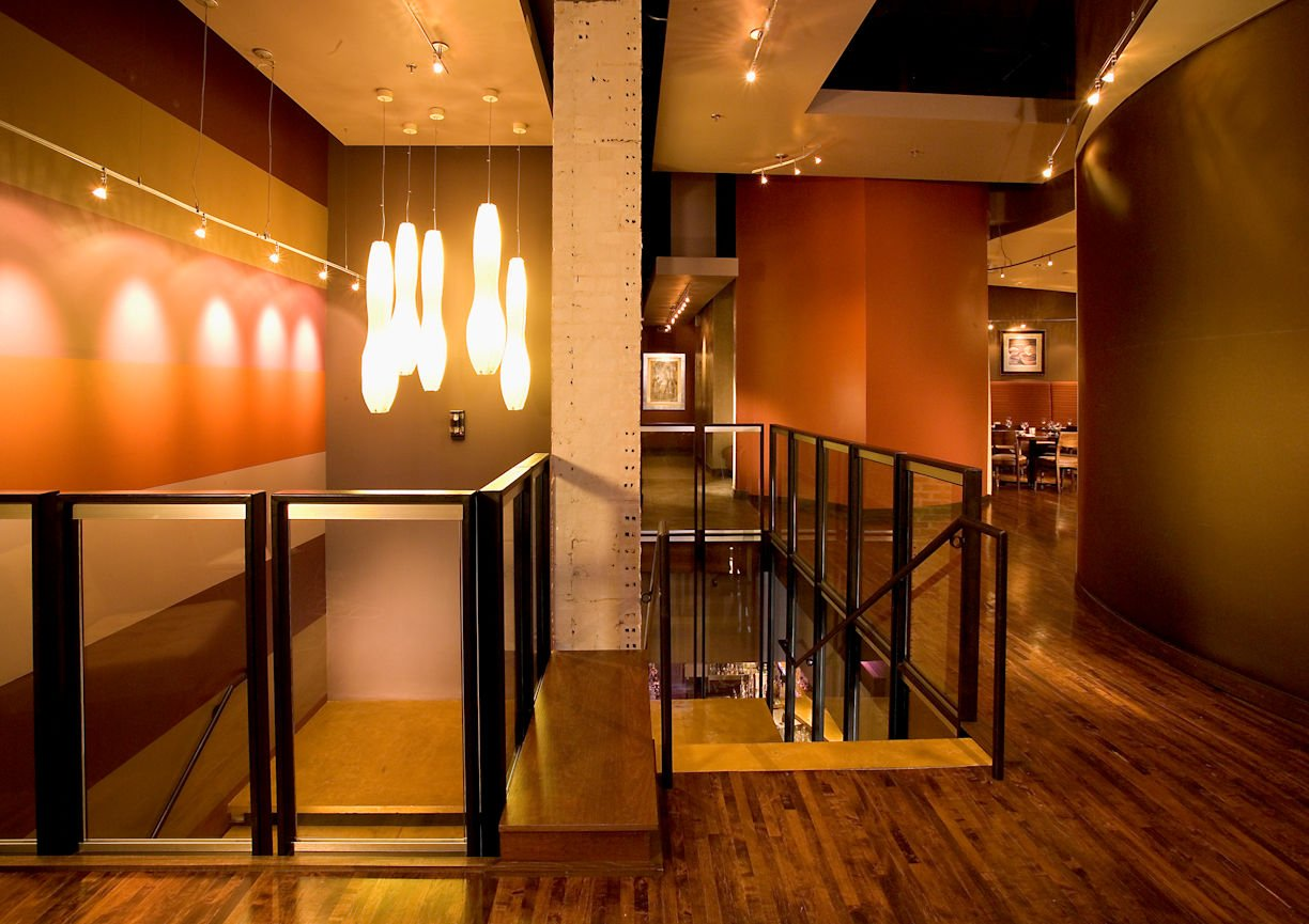 Five Restaurant lounge stairway by InUnison Design