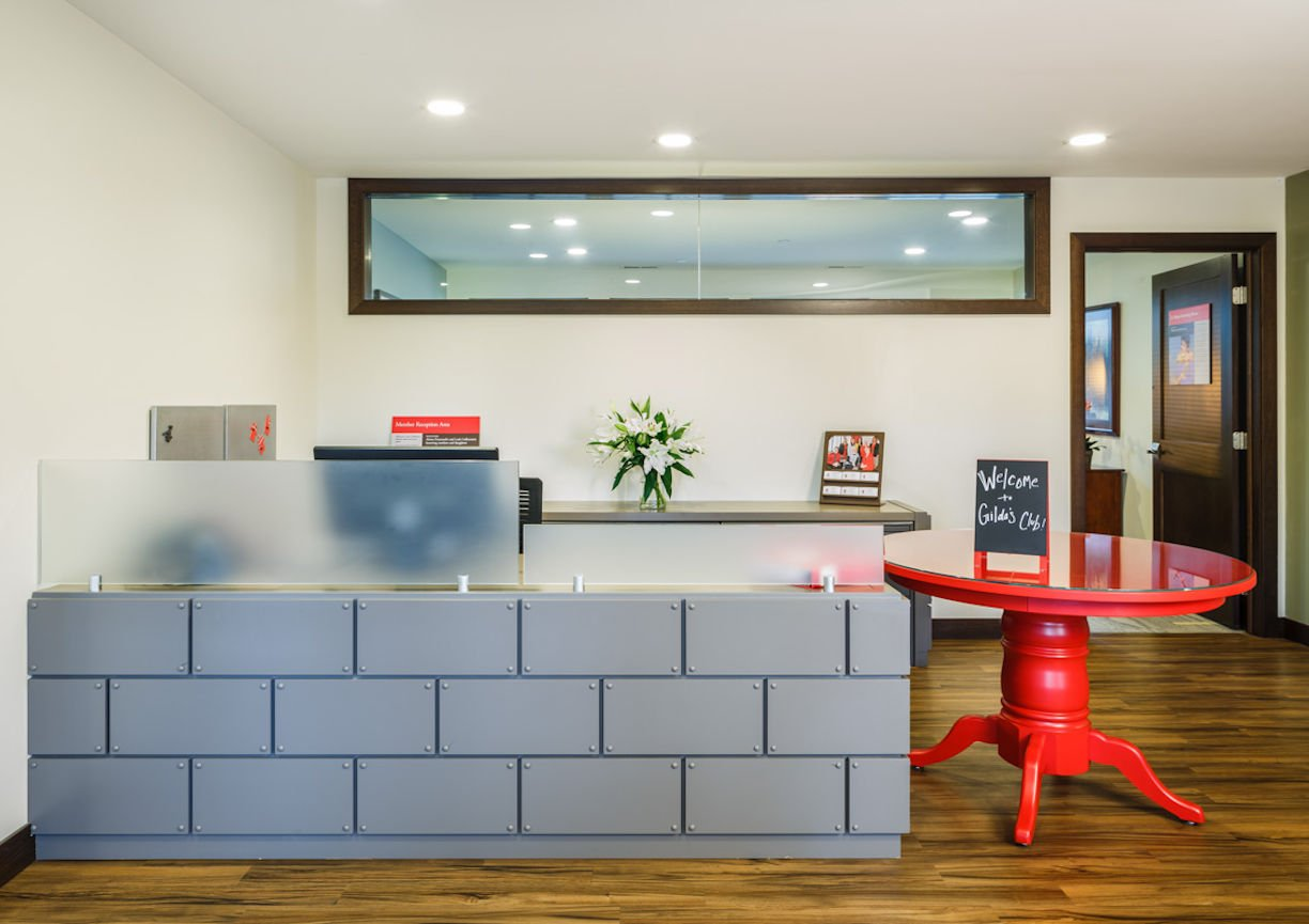 Gilda's Club Twin Cities reception desk by Christine Frisk of InUnison Design