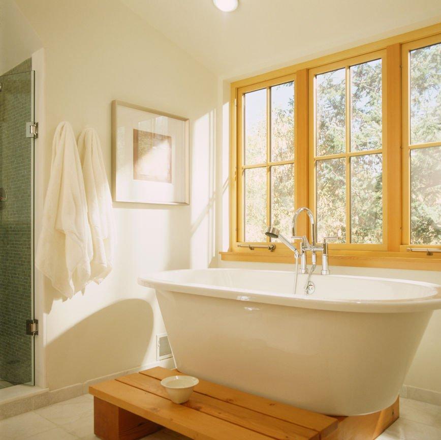 Modern master bath by InUnison Design