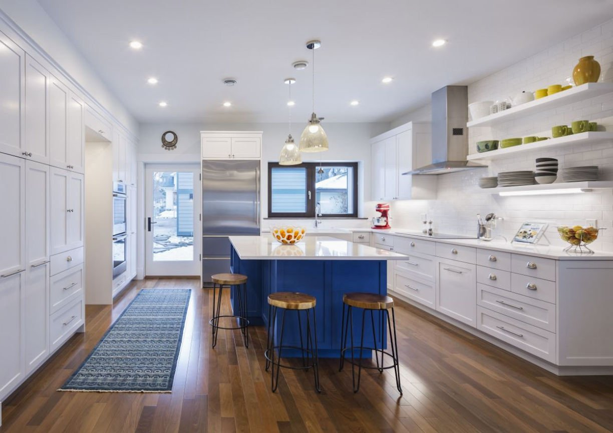 kitchen in Nordeast Nest Passive house by InUnison Design