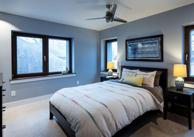 master bedroom in Nordeast Nest Passive house by InUnison Design