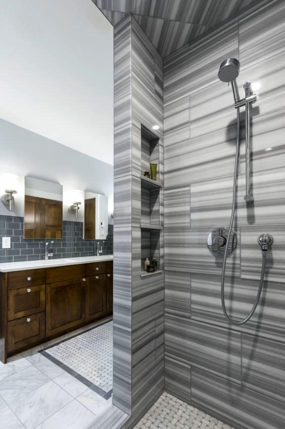 tiled shower in Nordeast Nest Passive house by InUnison Design