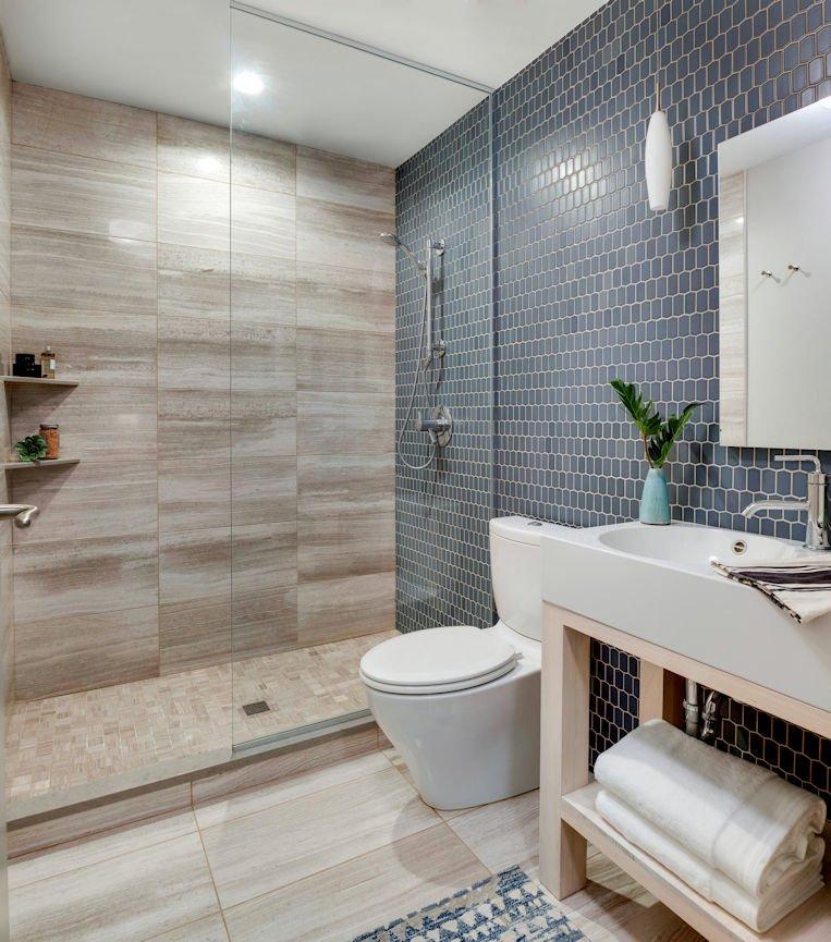 Bde Maka Ska condo bathroom by InUnison Design interior decorating