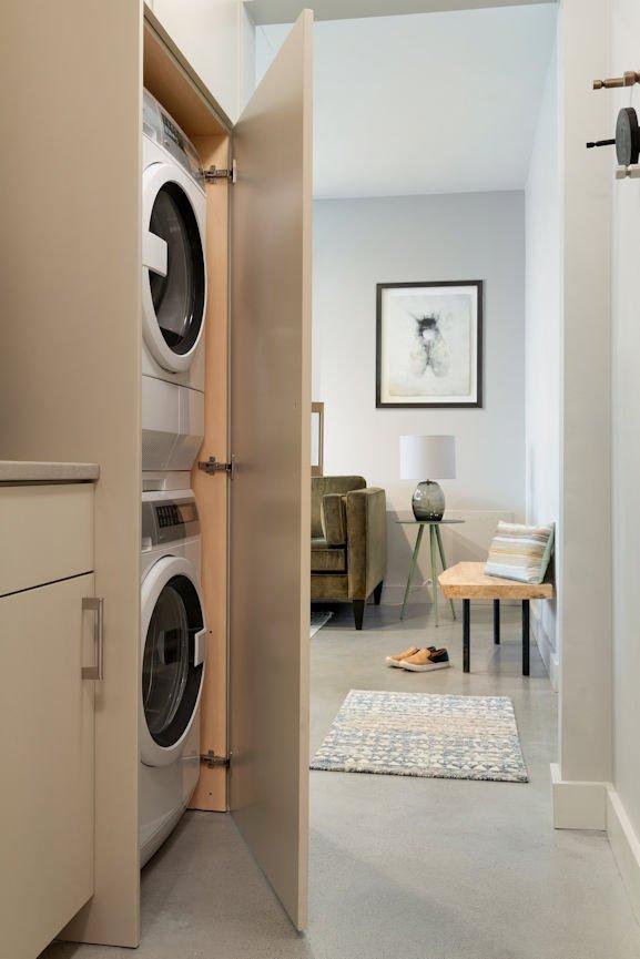 Bde Maka Ska condo laundry room by InUnison Design interior decorating