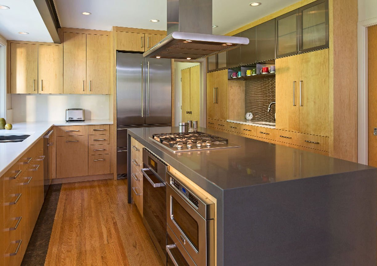 tight kitchen space solution in Edina residence by InUnison Design