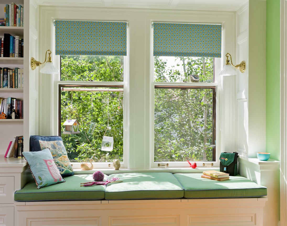 window seat inside Kenwood Residence by InUnison Design home interiors