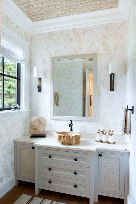 powder room inside Lake Minnetonka Estate designed by InUnison Design