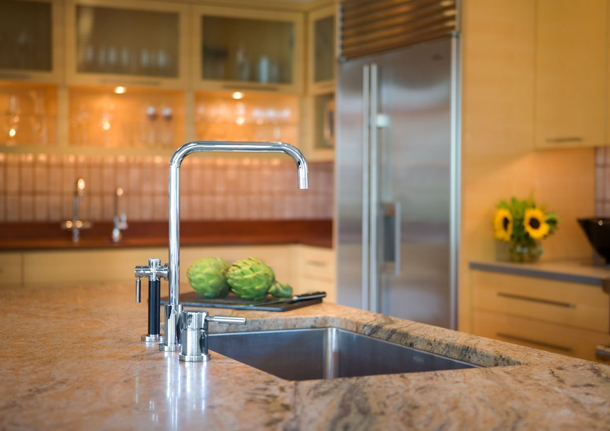 faucet detail in Lake Minnetonka Peninsula home with interior design by InUnison Design