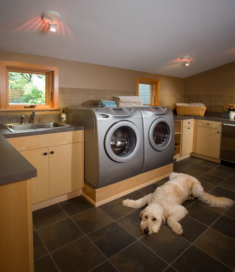 laundry room in Lake Minnetonka Peninsula home with interior design by InUnison Design