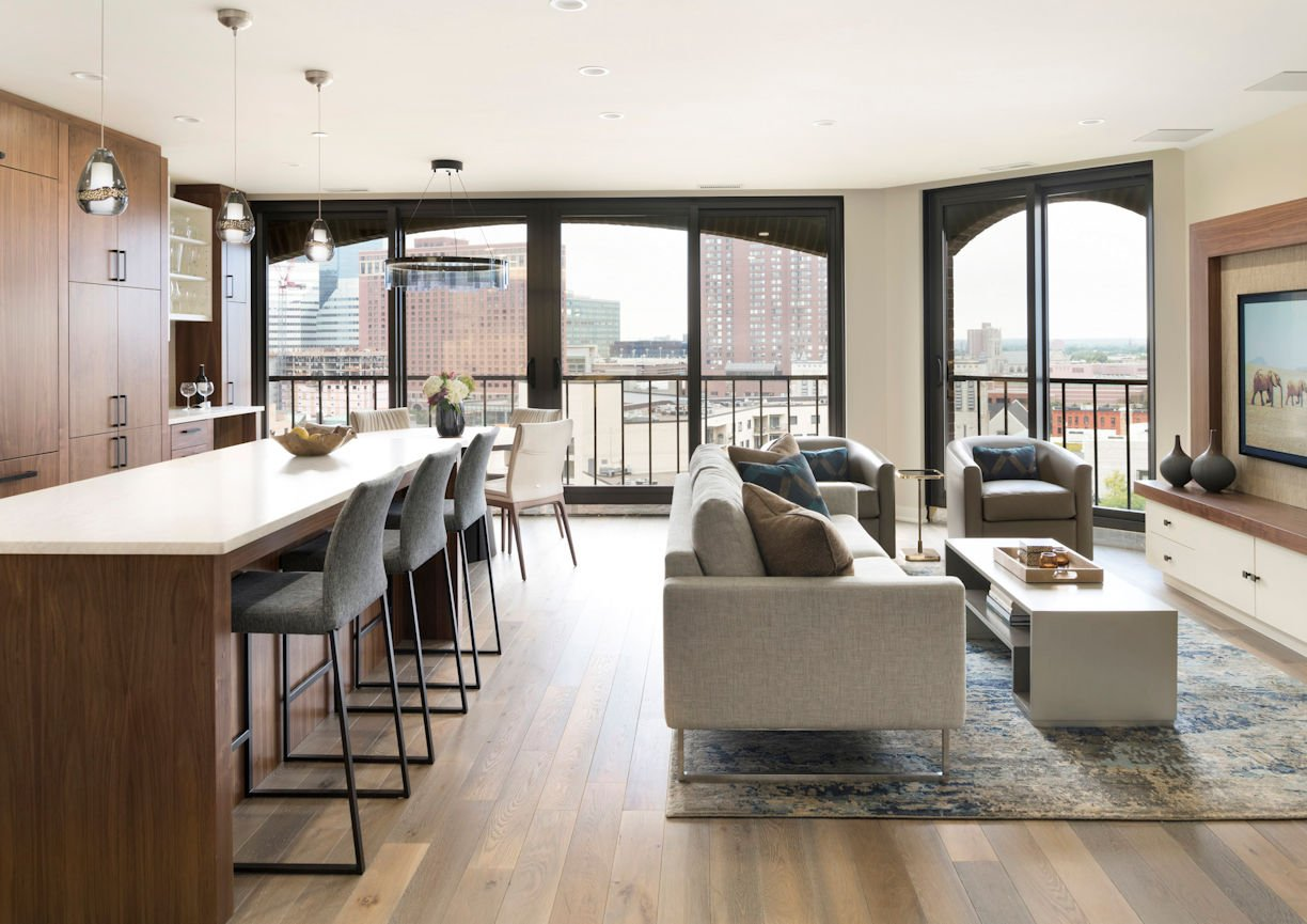 great room in Minneapolis Condo by Christine Frisk of InUnison Design