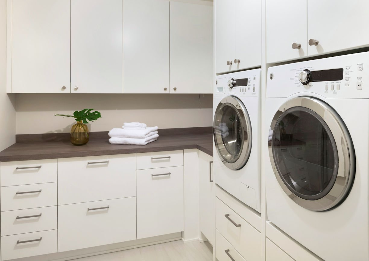 laundry room in Minneapolis Condo by Christine Frisk of InUnison Design