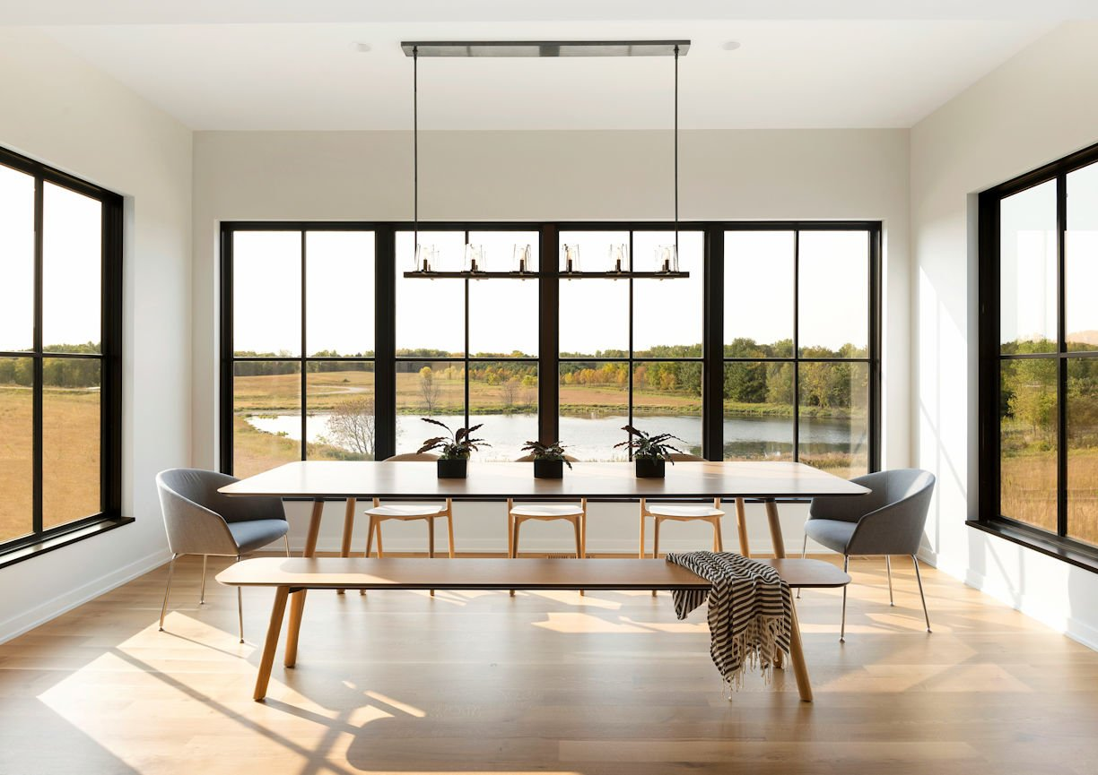 dining room in Modern Prairie Home by InUnison Design