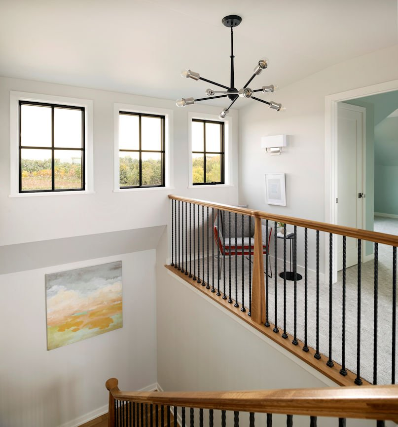 stairway lighting for Modern Prairie Home by InUnison Design