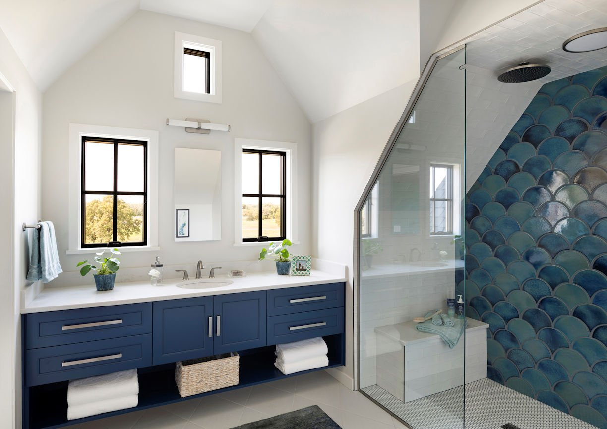 master bathroom in Modern Prairie Home by InUnison Design
