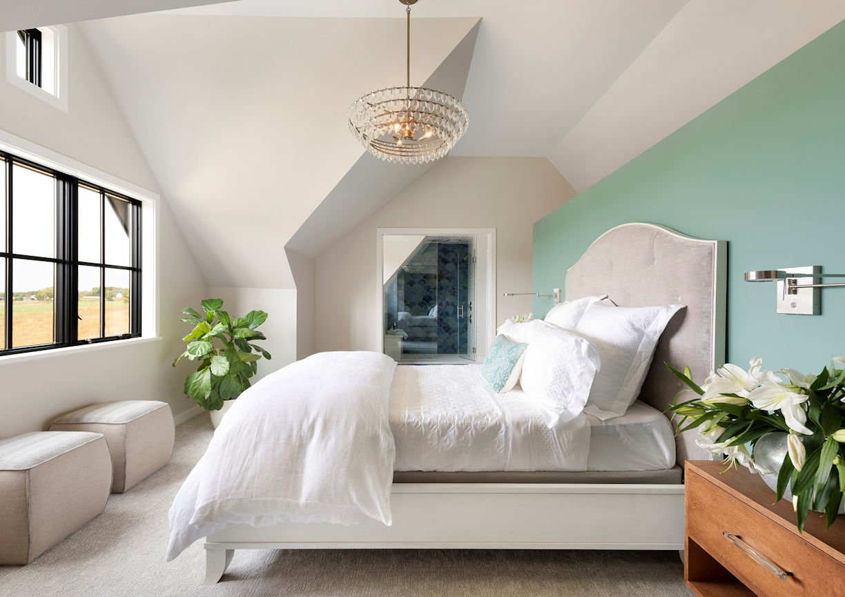 master bedroom in Modern Prairie Home by InUnison Design