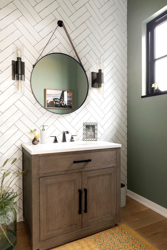 powder room in Modern Prairie Home by InUnison Design