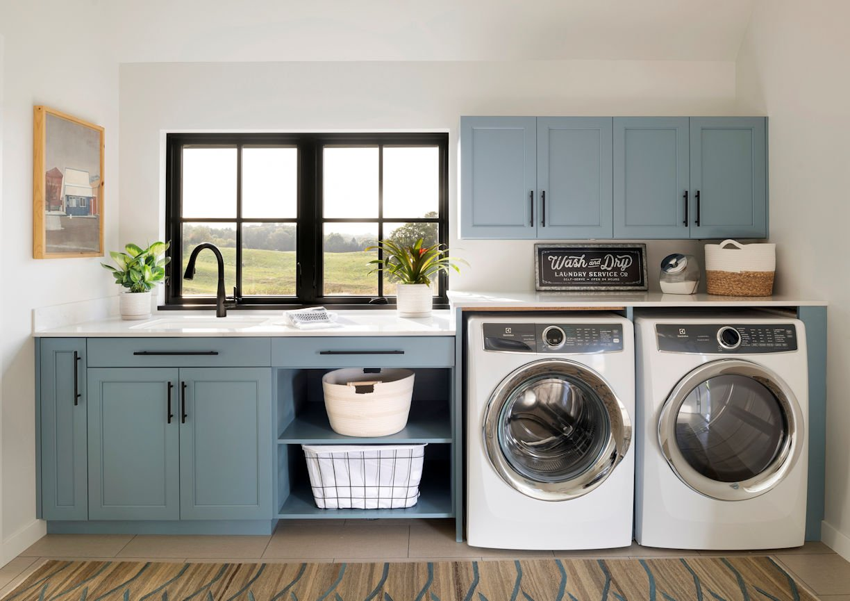 laundry room in Modern Prairie Home by InUnison Design