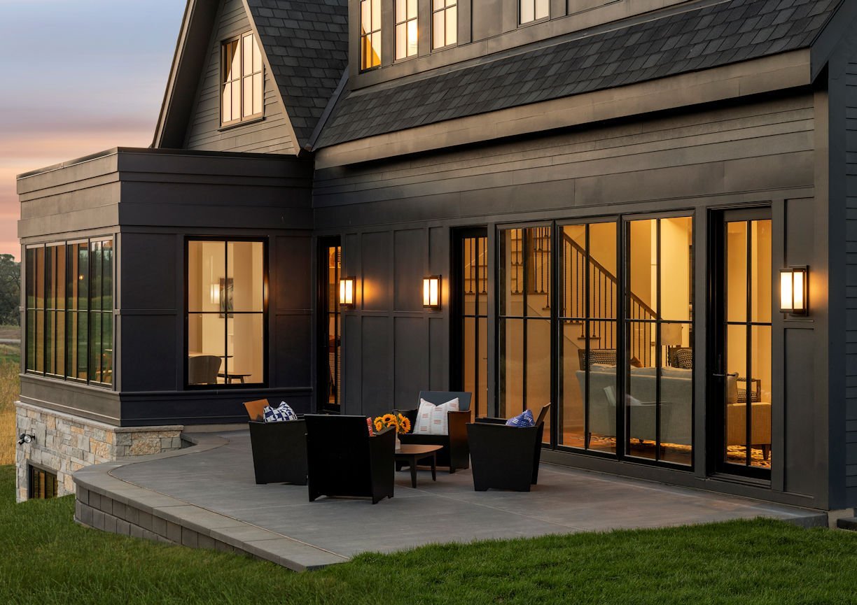 outdoor patio for Modern Prairie Home by InUnison Design