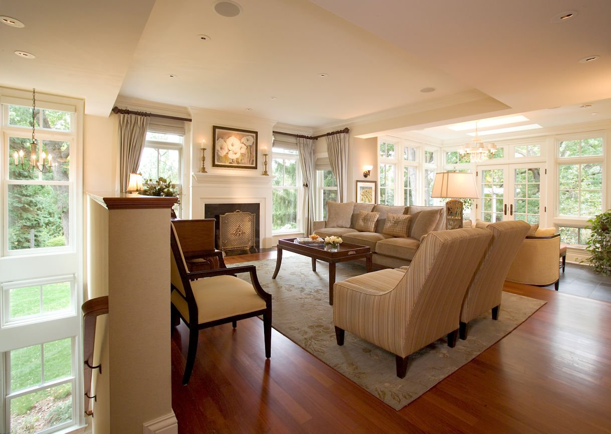 Orono Farmhouse living room interior design by InUnison Design
