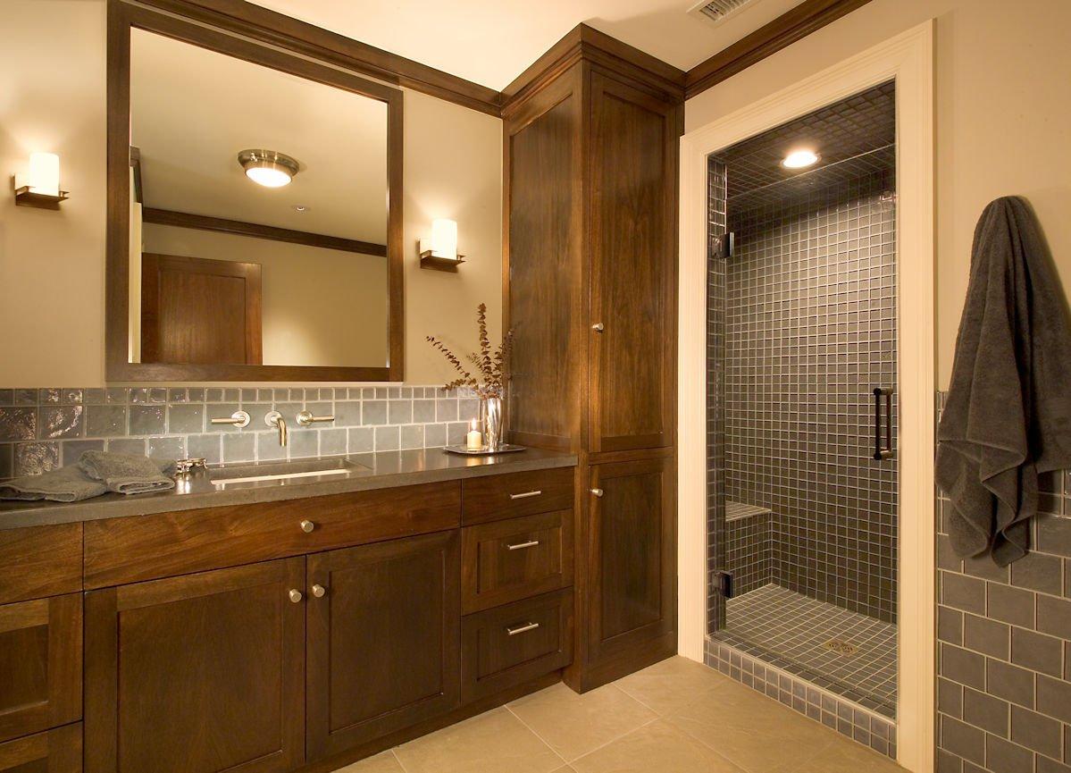 Orono Farmhouse master bath interior design by InUnison Design