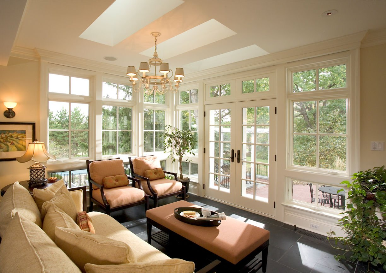 Orono Farmhouse solarium interior design by InUnison Design