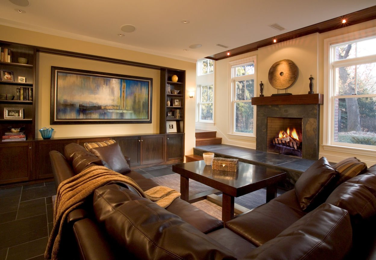 Orono Farmhouse family room interior design by InUnison Design