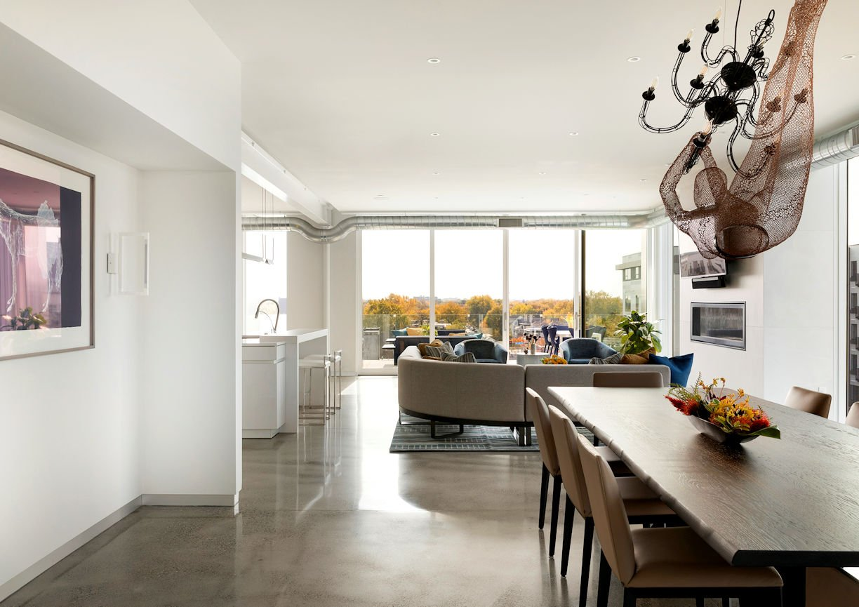 dining room in Rooftop Residence by InUnison Design and Christine Frisk