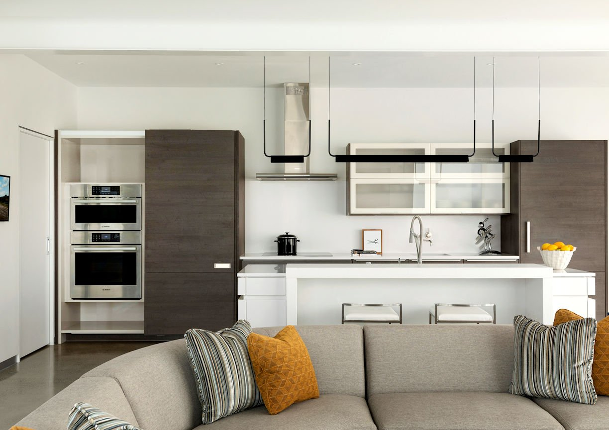 kitchen cabinets open in Rooftop Residence by InUnison Design and Christine Frisk