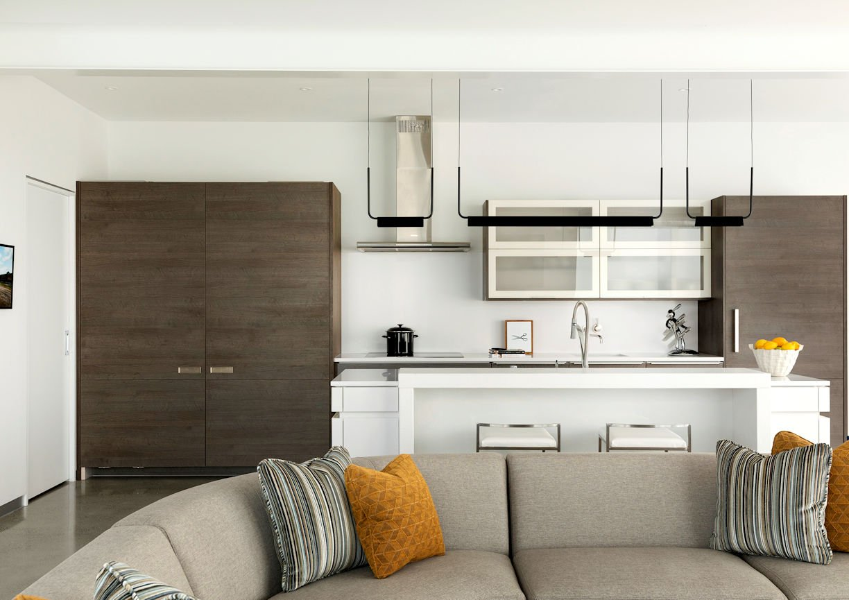 kitchen cabinets closed in Rooftop Residence by InUnison Design and Christine Frisk
