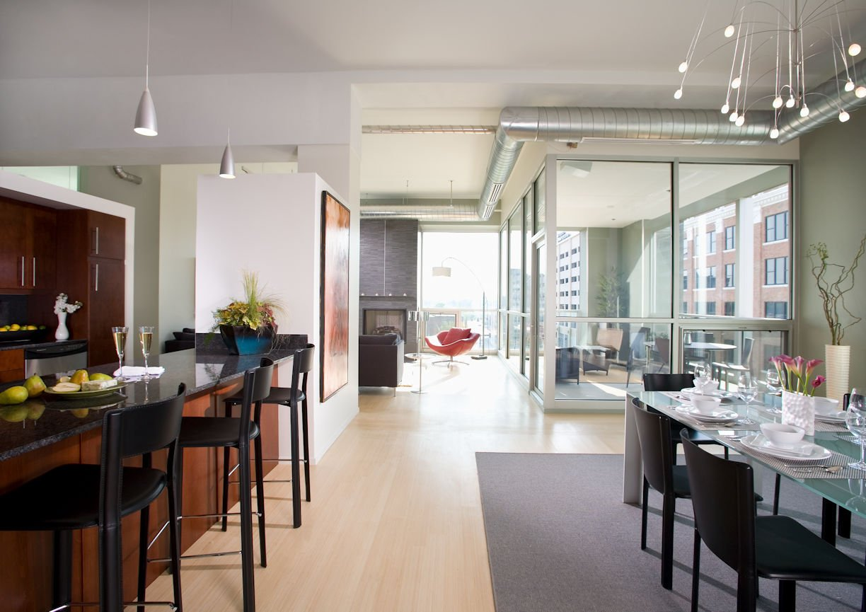 dining area in Des Moines urban condo by InUnison Design