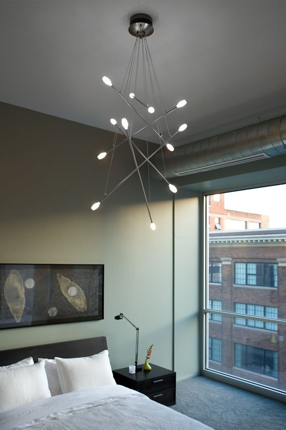 bedroom light fixture in Des Moines urban condo by InUnison Design