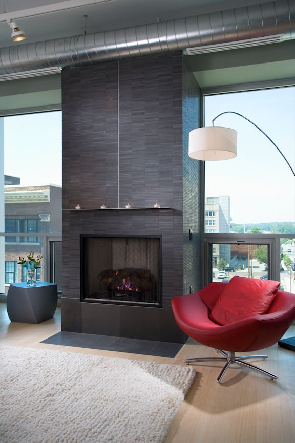 fireplace in Des Moines urban condo by InUnison Design