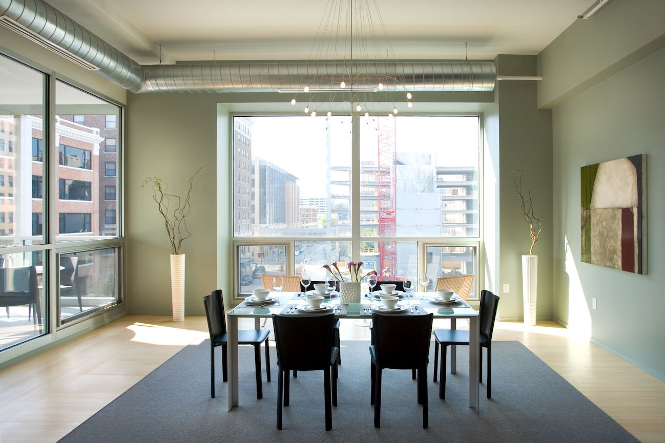 dining room in Des Moines urban condo by InUnison Design